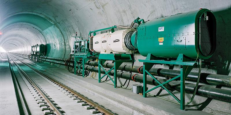 Wetterkühlmaschine für den Berg- und Tunnelbau im Gotthardtunnel