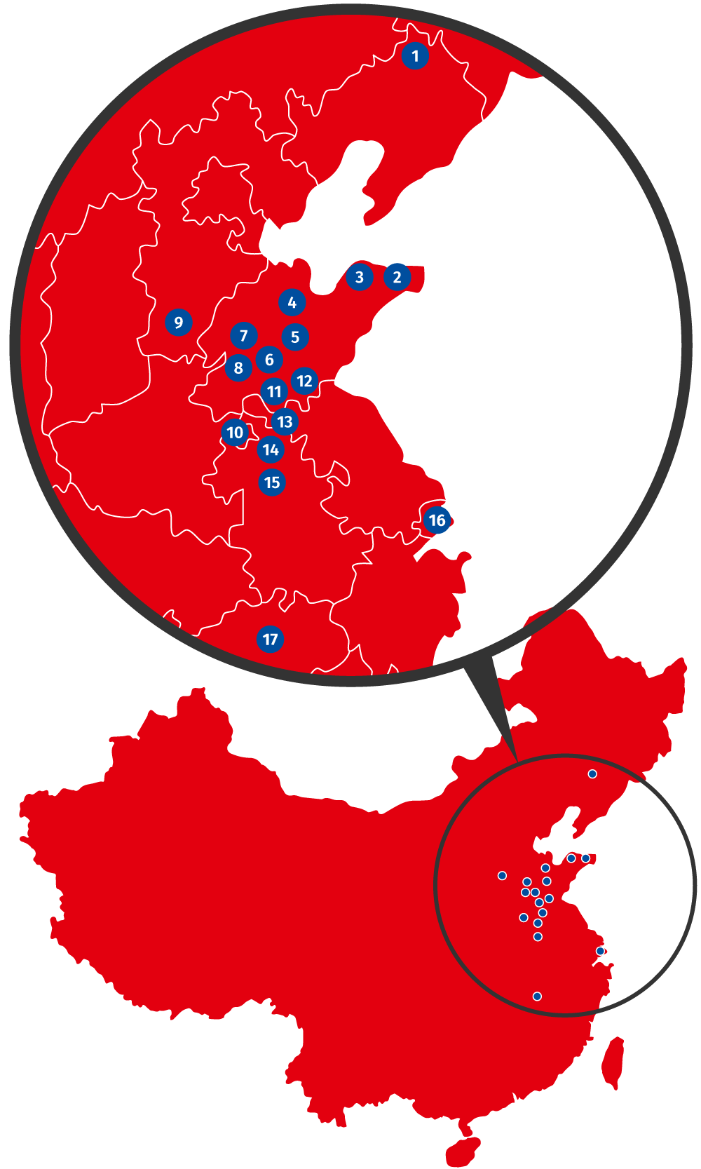Karte der Kunden in China für den Bergbau